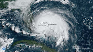 Satellite image of Hurricane Dorian by NOAA